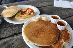 Canadian specialties! Peameal bacon and pancakes with maple syrup!