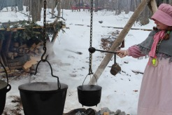 Old fashion method for condensing tree sap into syrup.