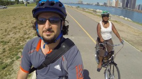 Biking along the Windsor waterfront trail