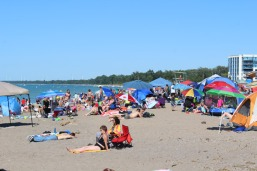 The beach can get pretty busy on the weekends.