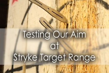 Testing our aim at Stryke Target Range in Brampton - Lets Discover ON Travel Blog