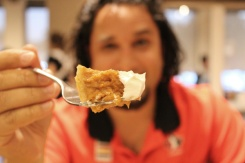 Tony eating pumpkin pie from Anna Mae's restaurnat in Millbank, ON