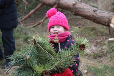 ON-Nature-Scots-Pine-Wreath---girl-with-pile-of-branches---Lets-Discover-ON