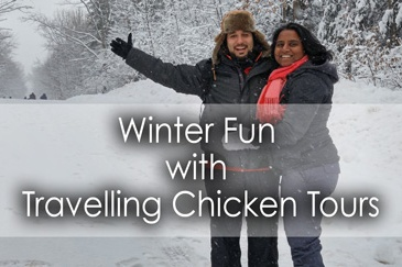 Winter fun - snowtubing and dogsledding in Ontario, Canada.